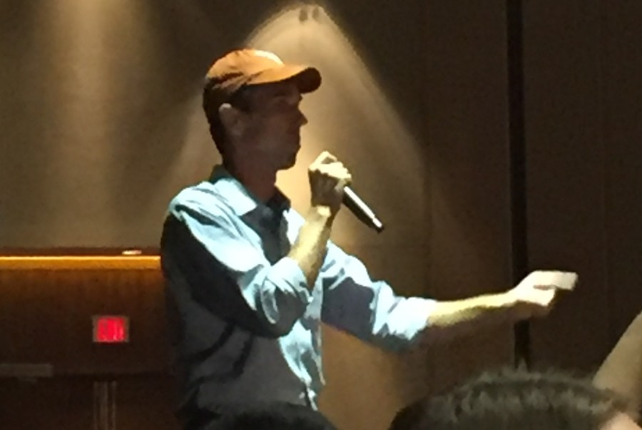 Beto O'Rourke, who ran for a Senate seat in 2018 against Ted Cruz, delivers a talk at The University of Texas in 2018. (Courtesy Jenn Porras)