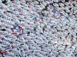 "Photo of a wall of ""I voted"" stickers"
