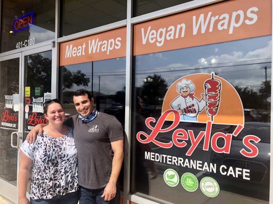 Courtney and Alaa Bataineh opened Leyla's Mediterranean Cafe in December 2019. (Sally Grace Holtgrieve/Community Impact Newspaper)