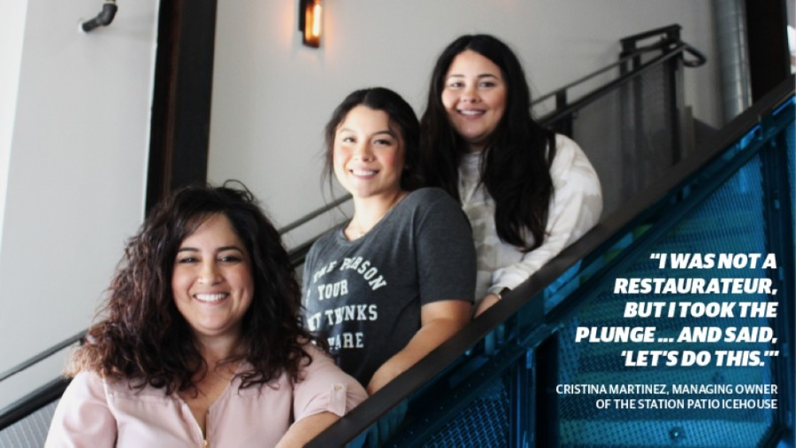 Cristina Martinez (left) runs her brother's business, The Station Patio Icehouse, and is often helped by her niece, Alexis Trevino (center), and her daughter, Alysia Zollinger (right). (Sandra Sadek/Community Impact Newspaper)