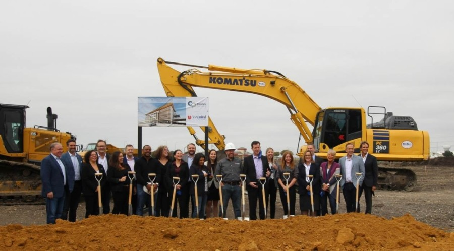 First United Bank team members attend the The Parkwood groundbreaking Oct. 19. (Courtesy Cawley Partners)
