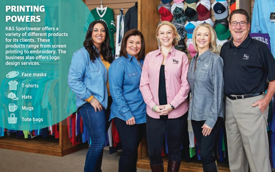 From left: Account Manager Sarah Otis, Graphic Designer Rachal Rodriguez and owner Brittney Mittag stand with K&S Sportswear founders Katy and Steve Weirich. (Courtesy K&S Sportswear) (Designed by Ronald Winters/Community Impact Newspaper)
