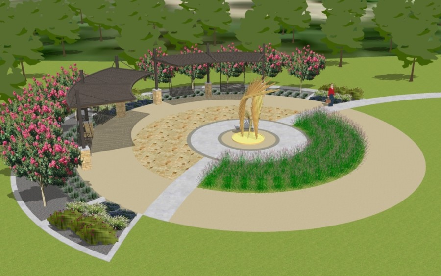 Yonders Point, a plaza and a terraced seating area with outdoor swings and lounge chairs, will be constructed on a field southwest of the intersection of Harrell Parkway and Aten Loop. (Rendering courtesy city of Round Rock)