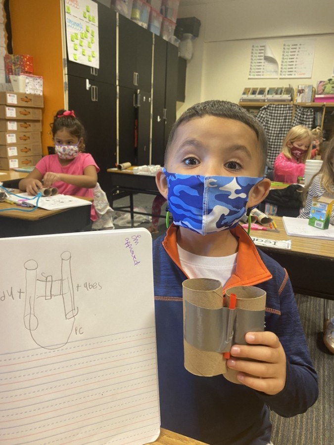 Lane Graham at Hall Elementary shows off the observer he made in engineering lab. (Courtesy Clear Creek ISD)