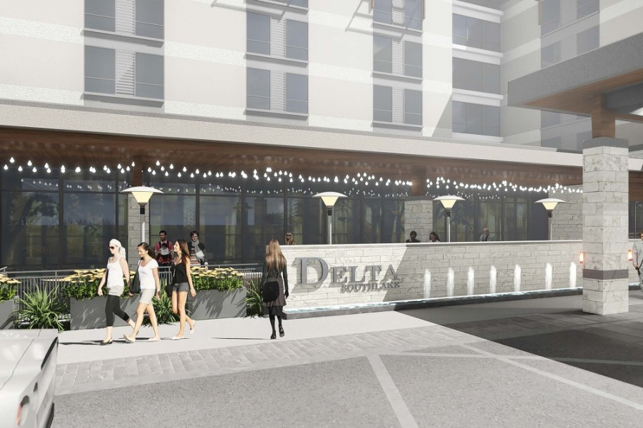 Concept art for the front signage of the hotel (Contributed by Marriott)