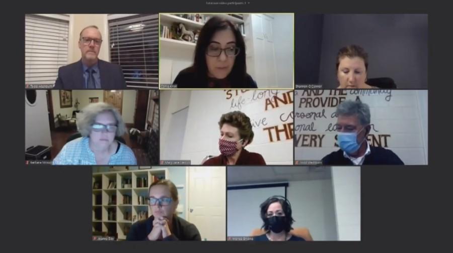 Screen shot of a Zoom board meeting