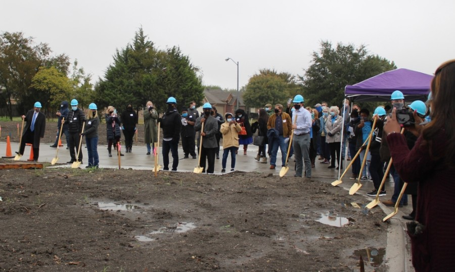 Habitat for Humanity of Collin County and McKinney officials break ground on the site that will house the Cotton Groves project. (Miranda Jaimes/Community Impact Newspaper)