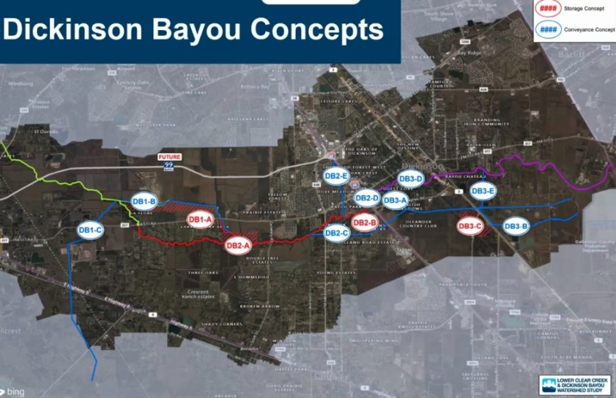 Freese and Nichols on Oct. 28 shared potential projects to alleviate flooding regionally in the Dickinson Bayou Watershed. (Courtesy Freese and Nichols)