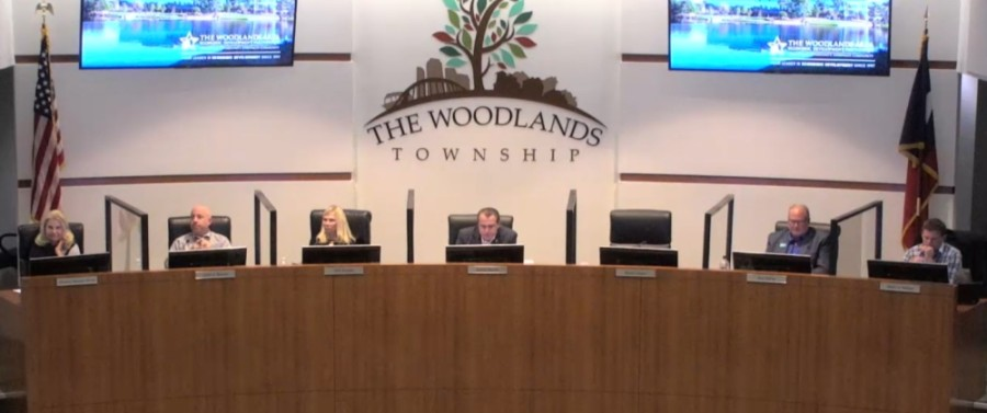 The Woodlands Township board of directors met Oct. 28 at Town Hall on Technology Forest Boulevard. (Screenshot via The Woodlands Township)