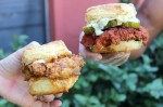The Queen Beak (left, $9) is available all day and is made with a fried chicken breast, cayenne black pepper honey and bacon-infused chipotle mayo. The firebird ($10, dinner-only) is a hot chicken sandwich with goat cheese and dil aioli, spicy sweet pickles and cilantro. (Jack Flagler/Community Impact Newspaper)