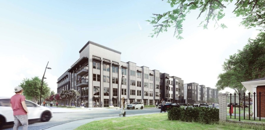 A rendering shows how the apartment property may look. (Courtesy Arrive Architecture Group)
