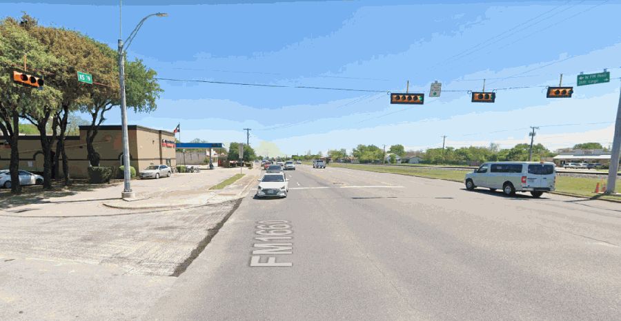 Hwy. 79 at FM 1660 N. in Hutto is slated for construction in fall 2021. (Courtesy Google Maps)