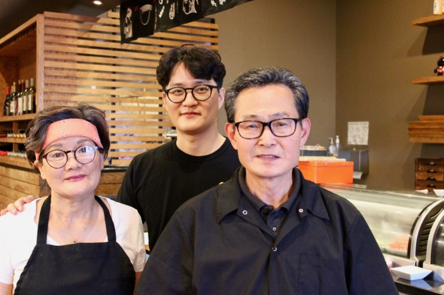From left: Okhwan Han serves as co-owner; Hyukki Soon, as manager; and Youngho Soon, as co-owner of Miso. (Taylor Jackson Buchanan/Community Impact Newspaper)