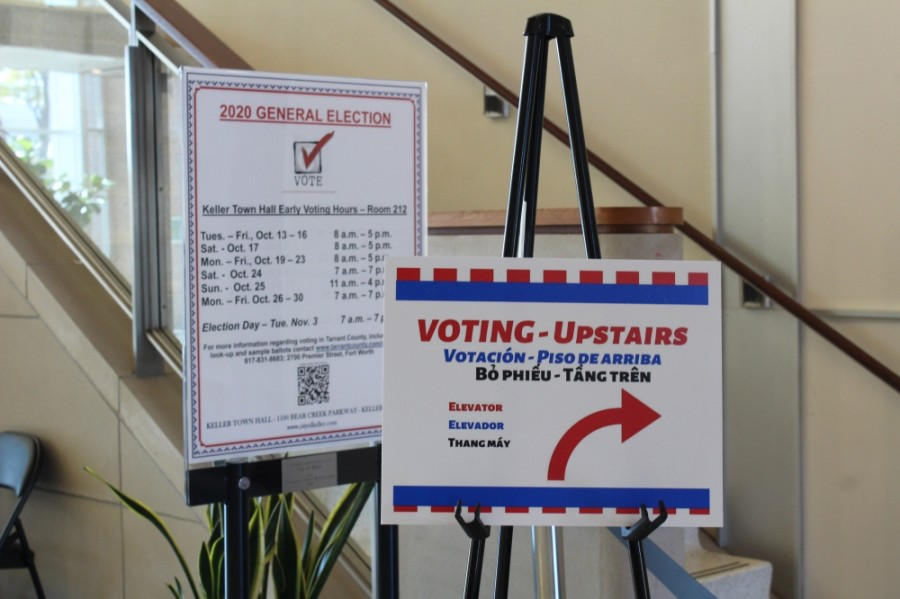 Signs point to the voting location inside Keller Town Hall on Election Day, Nov. 3. (Sandra Sadek/Community Impact Newspaper)