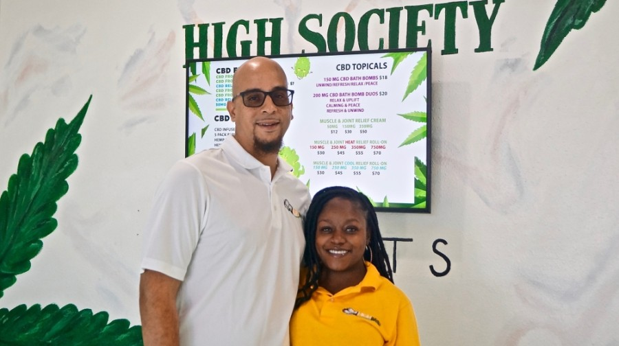 Tyrone and Shakana Howard co-own High Society Relief, a cannabidiol shop in Pflugerville. (Kelsey Thompson/Community Impact Newspaper)