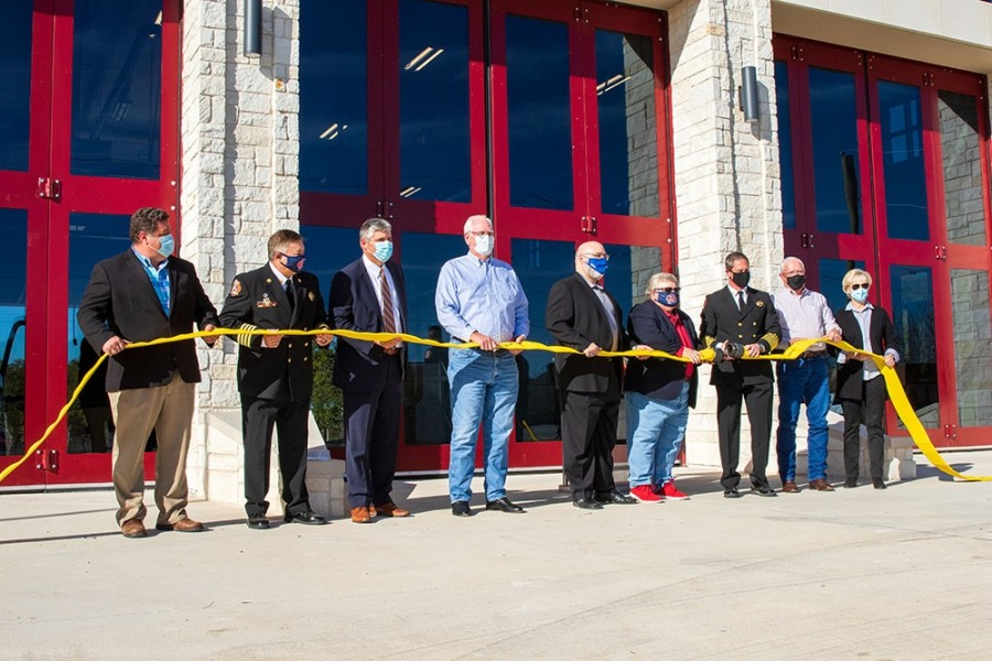 City of Georgetown officials and members of the Georgetown Fire Department gathered at Fire Station No. 7 on Nov. 2 to mark the completion of the new station. (Courtesy city of Georgetown)