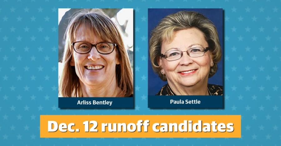 Unofficial final results show Arliss Bentley and Paula Settle will compete in the Dec. 12 runoff for Humble City Council Place 4 race. (Community Impact staff)