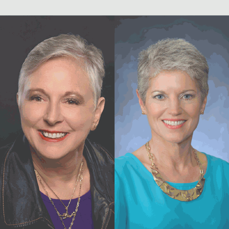 Weber (right) served on the board of trustees from 2008-17, then 2019-20, in Clear Creek ISD. (Headshots courtesy of Michelle Davis and Win Weber)