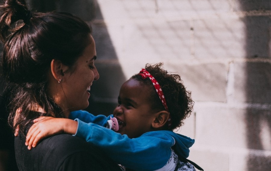 child being held