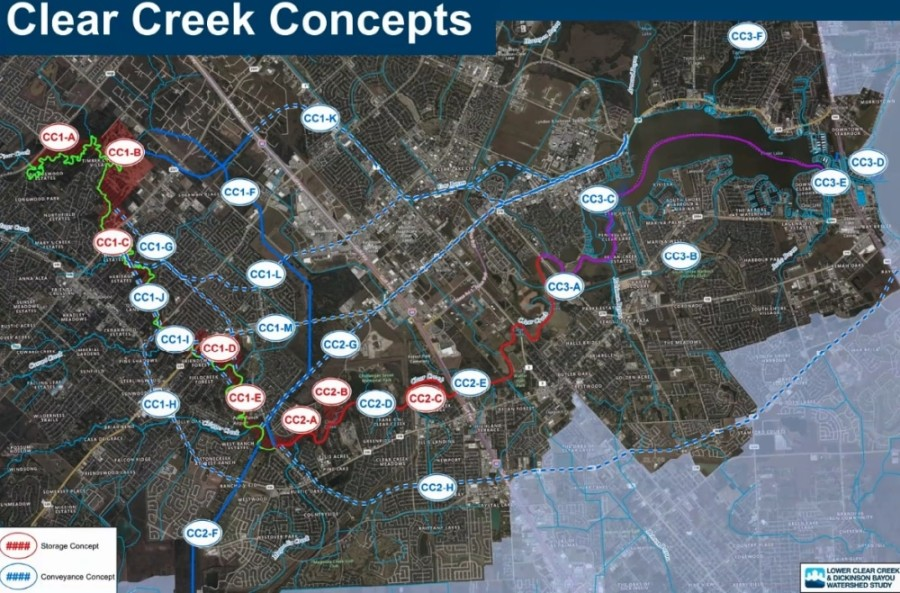 To solve drainage issues along Clear Creek, experts working on the Lower Clear Creek and Dickinson Bayou Watershed Study have proposed several potential flood mitigation projects, including building miles of underground tunnels. (Courtesy Freese and Nichols)