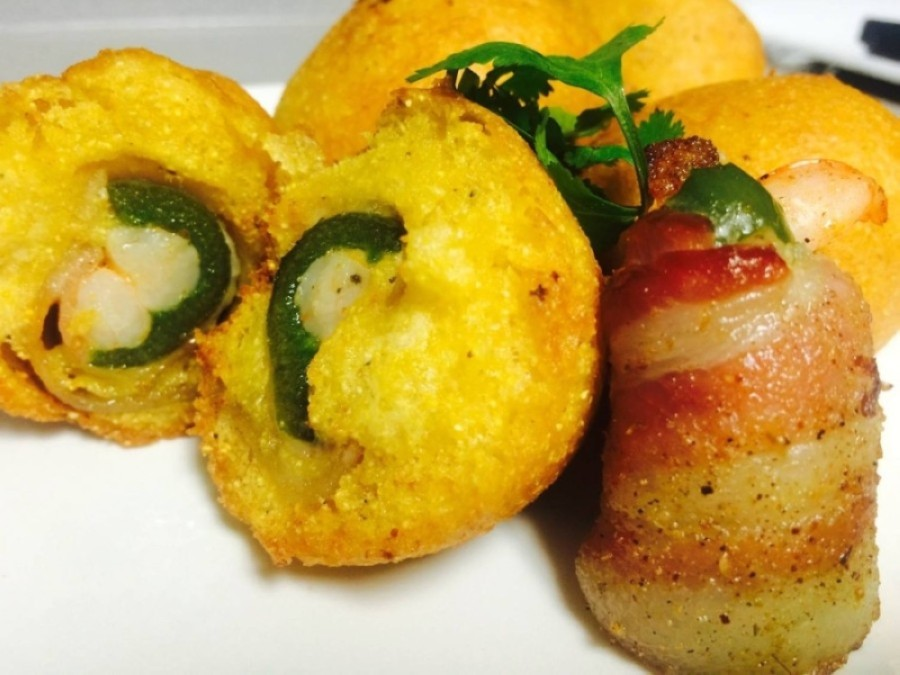 Hushpuppies stuffed with bacon wrapped shrimp and jalapeños are among the menu offerings at Rec's. (Courtesy Kenneth Rector Jr.)