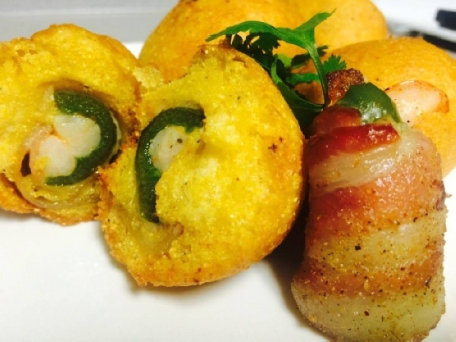 Hushpuppies stuffed with bacon wrapped shrimp and jalapenos are among the menu offerings at Rec's. (Courtesy Kenneth Rector Jr.)