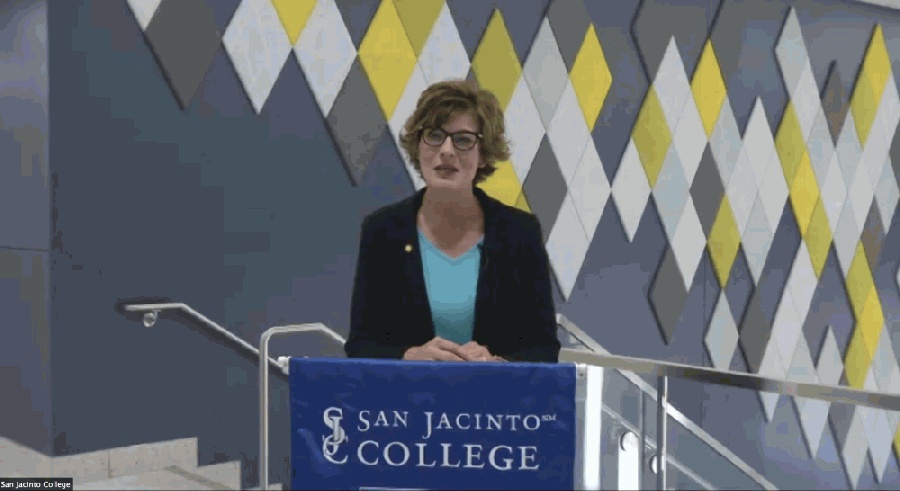 San Jac's State of the College address was delivered virtually Nov. 5. (Screenshot of livestream)
