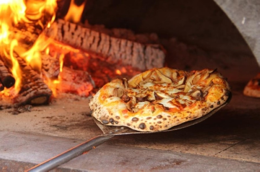 The neighborhood pizzeria uses wood-fired ovens to make its pizza. (Courtesy Delucca Gaucho Pizza & Wine)