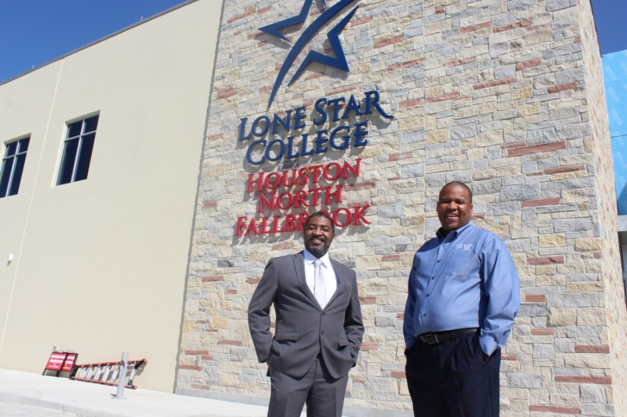 LSC-Houston North President Quentin Wright (left) said the new campus was funded through a partnership with Fallbrook Church, spearheaded by senior pastor Michael Pender (right). (Hannah Zedaker/Community Impact Newspaper)