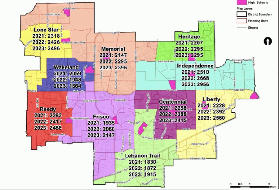 2020-2021 Frisco ISD high school school attendance zones. (Courtesy Frisco ISD)