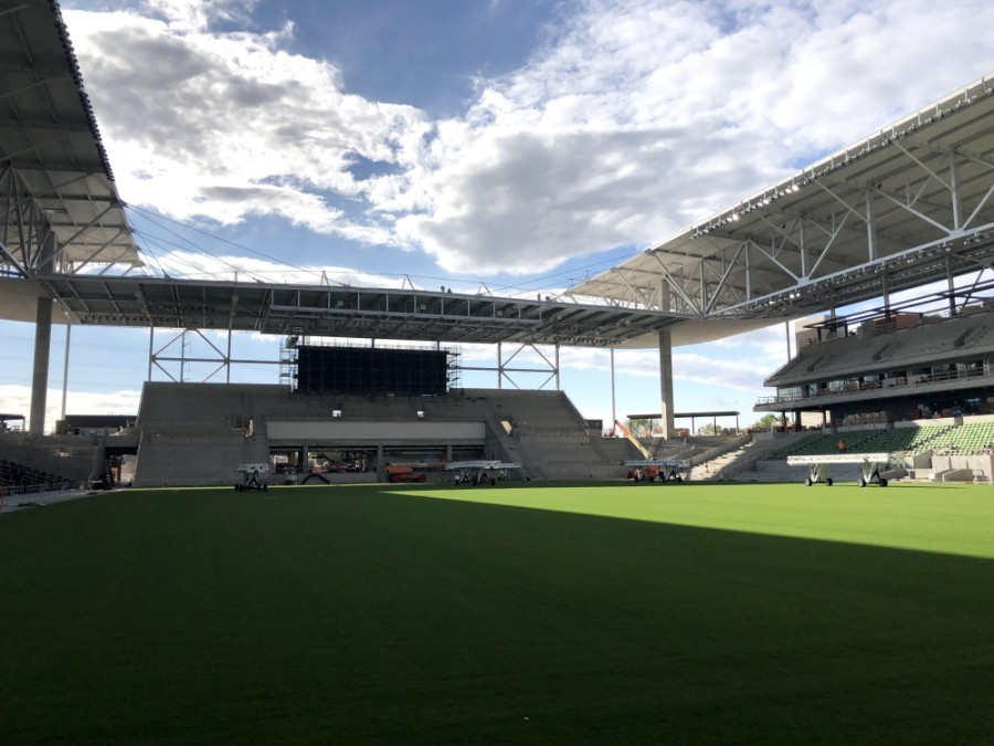 Austin FC's stadium is about 75% complete and scheduled to host the club's first games in the upcoming 2021 Major League Soccer season. (Jack Flagler/Community Impact Newspaper)