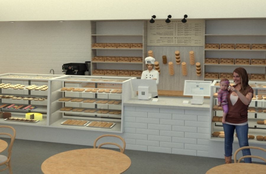 The new Bagel Shop Bakery location will offer counter service with coffee and espresso as well as pastries, bagels, sandwiches and other items. (Courtesy Reese Design Services)