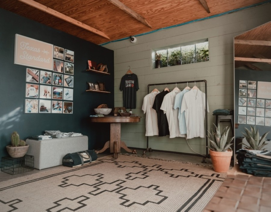 Photo of the interior of a small clothing store