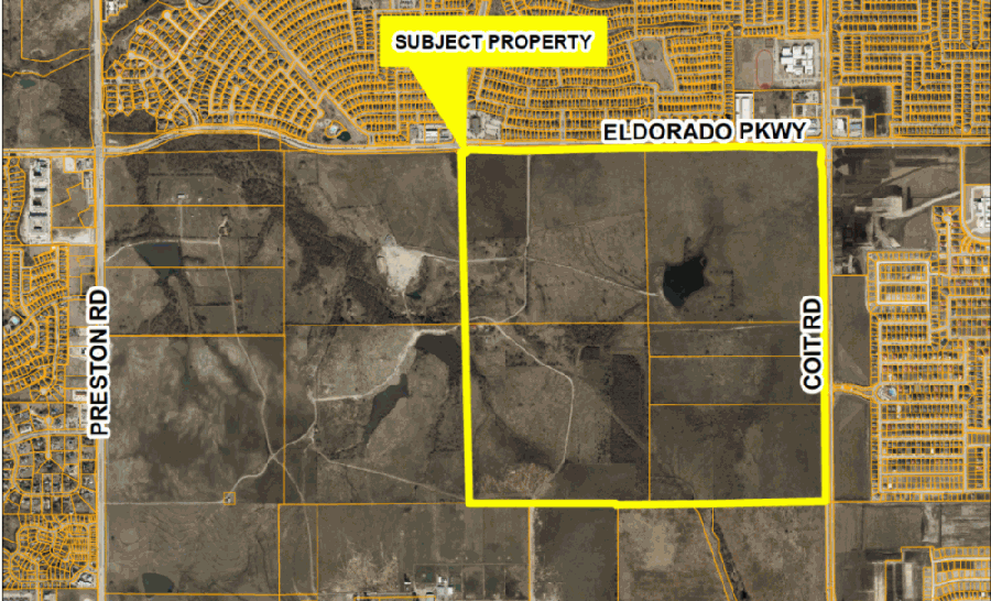 Some 103 acres of the former Brinkmann Ranch property is slated to be developed into a subdivision near the intersection of Eldorado Parkway and Coit Road. (Courtesy city of Frisco)