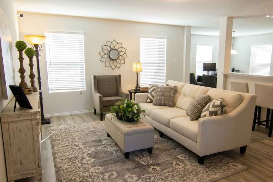 Camillo Properties has opened a model home, a two-story property with 4 bedrooms and 2.5 baths. This model, called the Devonhurst II plan, goes for $1,750 a month. (Pictured and staged by Southern Allure Staging, Courtesy Camillo Properties)