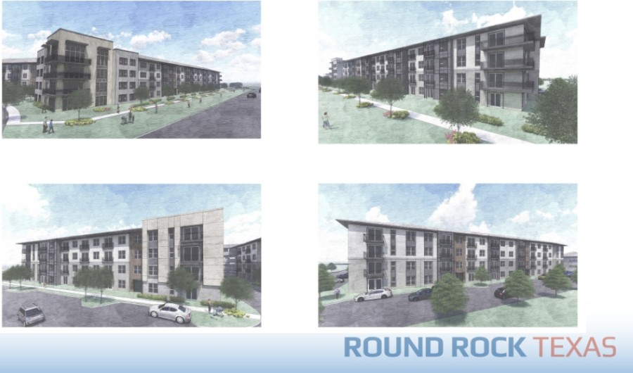 The rezoning incorporates a commercial parcel and an urban-style, multifamily portion, according to city documents. (Renderings courtesy city of Round Rock)