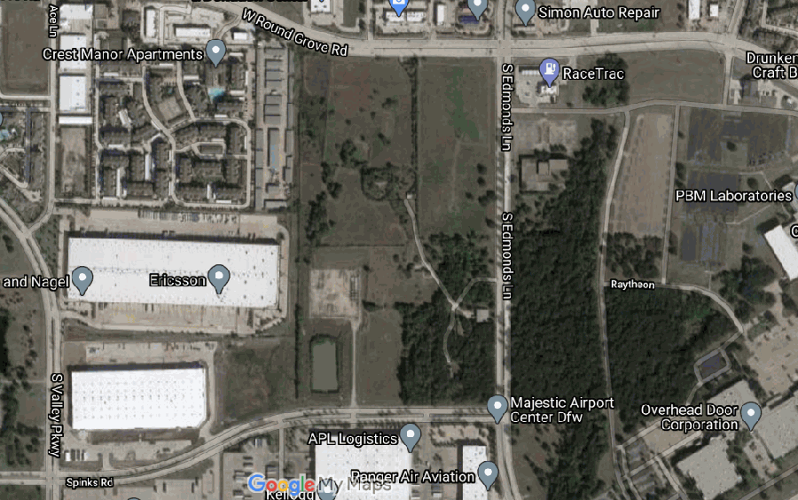 Houston-based developer Hines is planning to build a business park on this property in Lewisville. (Screenshot from Google Maps)
