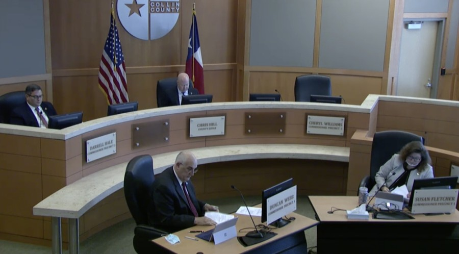 Collin County commissioners unanimously agreed to allow Judge Chris Hill to sign amended contracts that will allow Frisco, McKinney, Plano and Allen to move funds to provide food cards as part of the county's housing assistance program. (Screenshot courtesy Collin County)