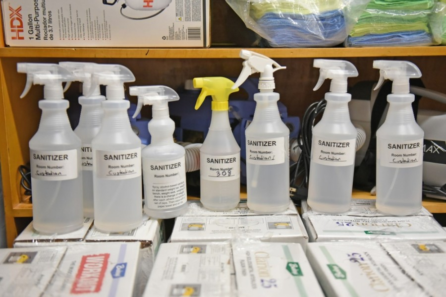 Cleaning products are stored in a Cy-Fair ISD campus custodian closet. (Courtesy Cy-Fair ISD)