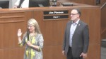 Council Member Ann Martin recites the oath of office Nov. 16 after she defeated incumbent Claudio Forest and earned a seat on the Flower Mound Town Council. (Screenshot from town of Flower Mound video)