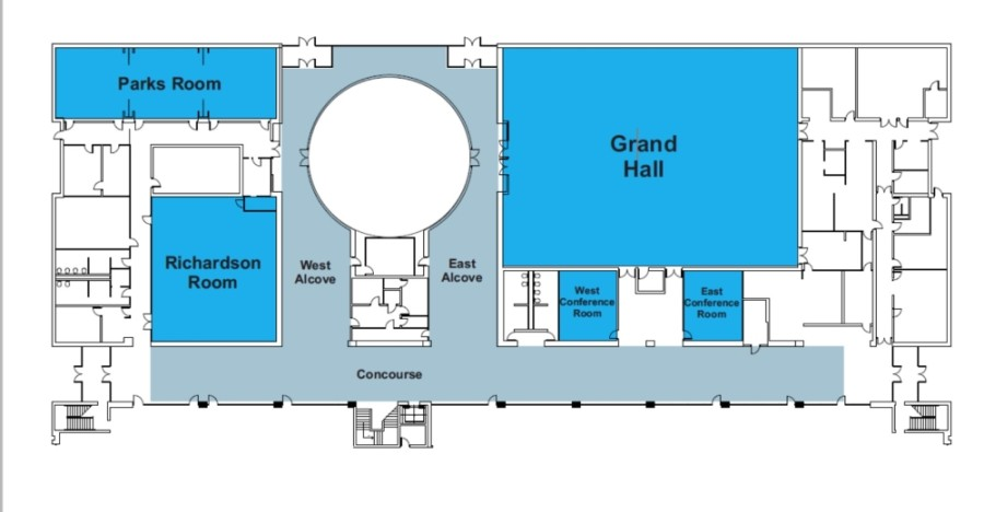The areas shown in blue make up rentable areas of the Civic Center. (Courtesy city of Richardson)