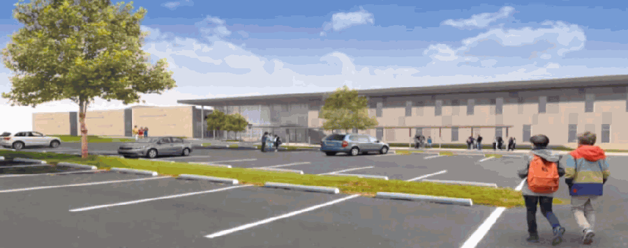 Miller Middle School is expected to be complete in August 2021, according to district information. (Rendering courtesy San Marcos CISD)