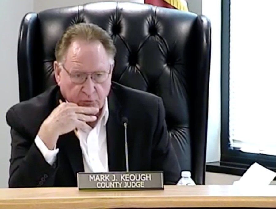 County Judge Mark Keough and Montgomery County Commissioners Court discussed providing federal COVID-19 relief money to schools Nov. 17. (Screenshot via Montgomery County)