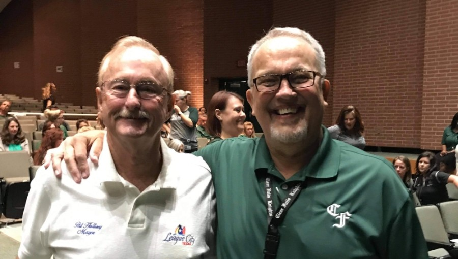"Dave Durand (right) and his ""million-dollar smile"" pose with League City Mayor Pat Hallisey. (Courtesy Pat Hallisey)"