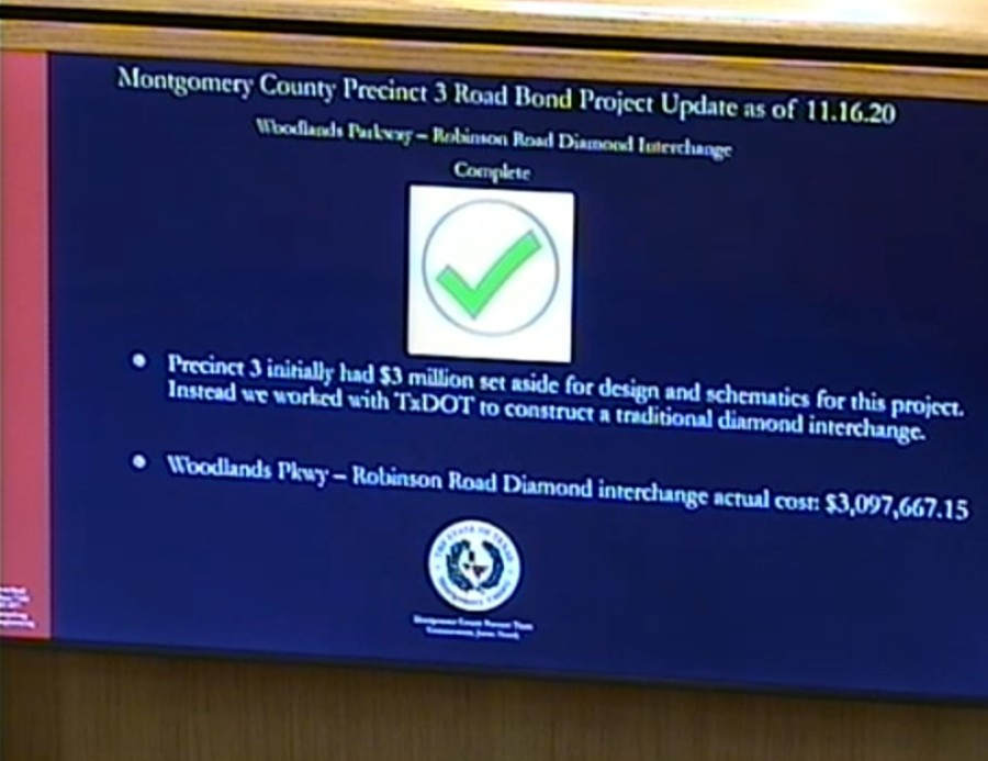 Montgomery County Precinct 3 Commissioner James Noack presented updates Nov. 17 for various road projects funded through the 2015 road bond. (Screenshot via Montgomery County)