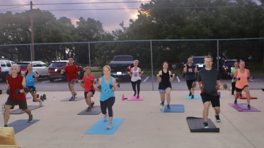Pam Moorhead (center) teaches outdoor workout classes which are also broadcast over Zoom. (Courtesy Health and Soul Fitness)