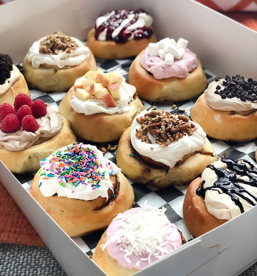 Customers can choose their own frosting flavors and toppings, with options ranging from bananas and blueberries to cookie dough, pie crumbles and sprinkles. (Courtesy Cinnaholic)