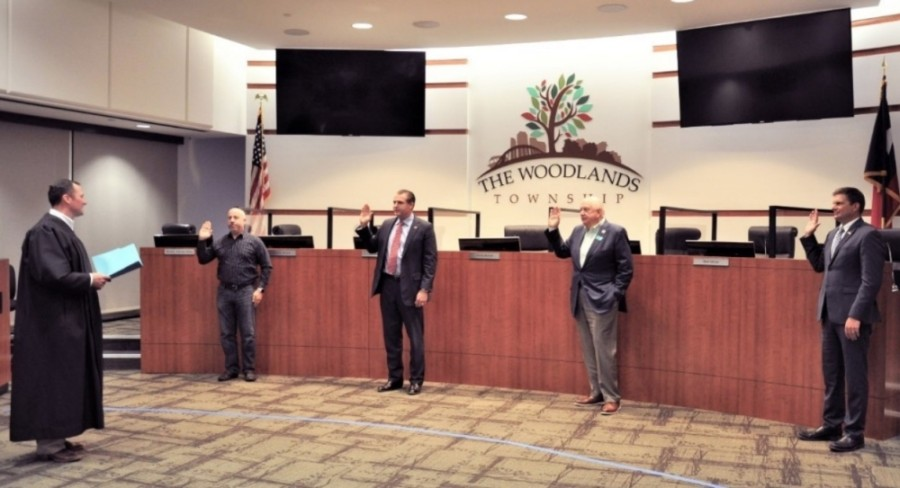 Four members of The Woodlands Township board of directors were sworn in Nov. 18. (Courtesy The Woodlands Township)