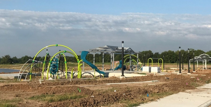 In August, the Ivy District put up the pavilion and trellis, as well as playground equipment. (Courtesy Pearland Economic Development Corp.)