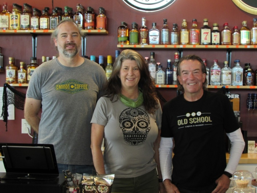 Friends and co-owners (from left) Chris Blumentritt, Debbie Mylius and Phil Harding share a space in South Austin for Old School Liquor & Market and Cannon Coffee. (Photos by Nicholas Cicale/Community Impact Newspaper)